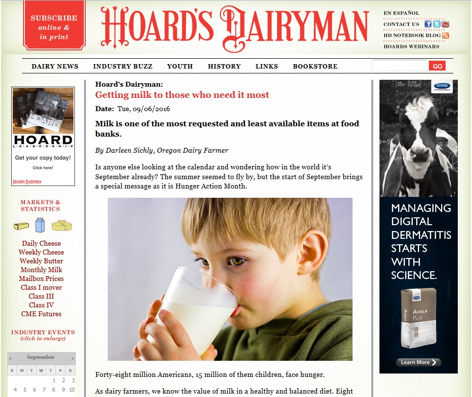 Hoard's Dairyman – Hunger Action Month