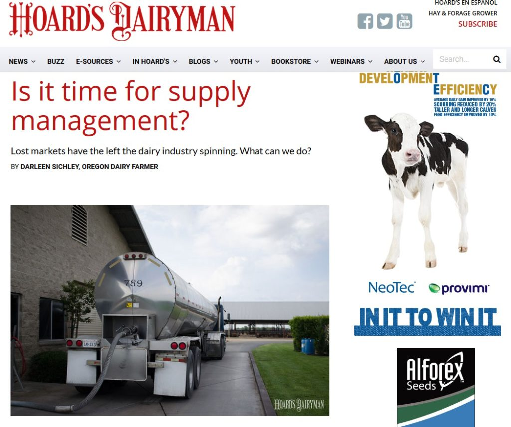 Hoard's Dairyman - Supply Management